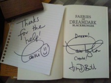 """Faeries of Dreamdark: Blackbringer"" signed by Laini Taylor and Jim DiBartolo"