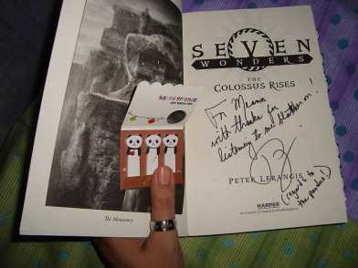 My copy of The Colossus Rises signed by Peter Lerangis